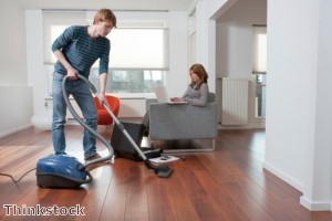 Men are now having to do their share of housework as women are increasingly becoming the breadwinner of the family.