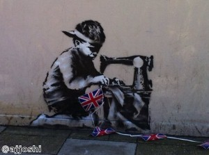 The graffiti art created by Bansky is highly sought after.